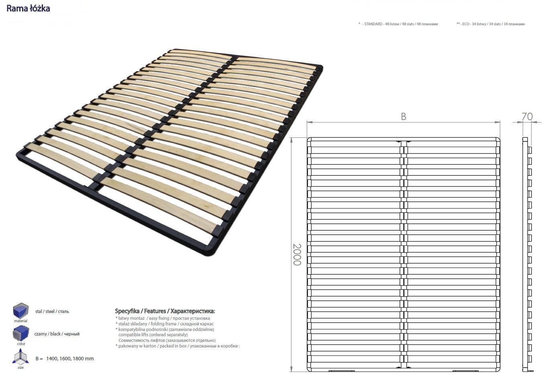 Stelaż łóżka 1600x2000 Z Podnośnikiem Gazowym Wersja Do Złożenia